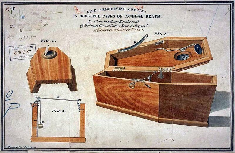 """Life preserving coffin in doubtful cases of actual dead, "" a safety-coffin model by Christian Eisenbrandt."