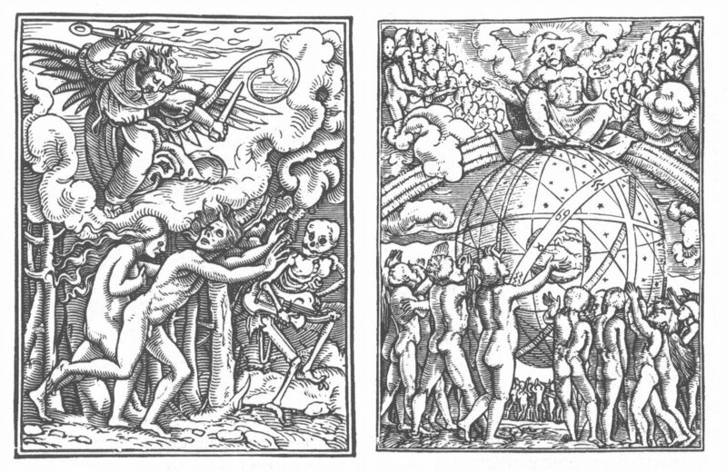 From Hans Holbein's <em>Dance of Death</em>, left, Adam and Eve cast out of the Garden of Eden and right, The Last Judgement.