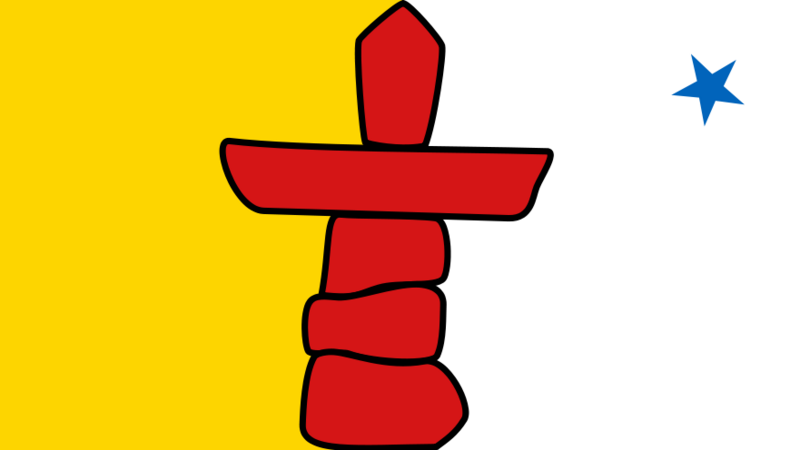 The flag of Nunavut features an inukshuk.