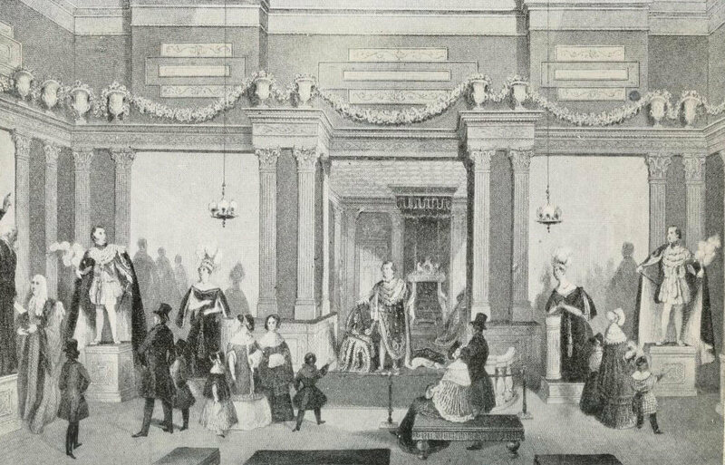 The entrance to Madame Tussaud's London, depicted in 1842.