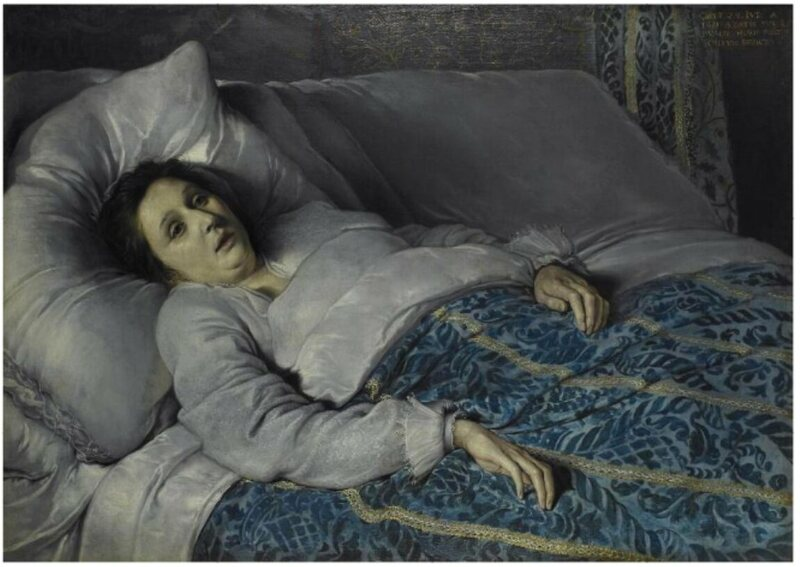 """Young woman on her deathbed."""