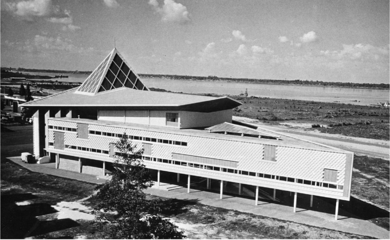 Vann Molyvann's National Theatre, 1966. The architect's New Khmer style is evident in its pyramid structure and piqued roof.