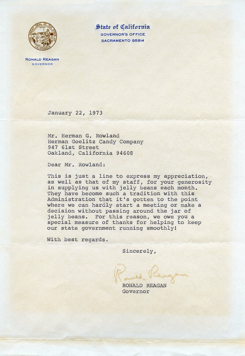 Reagan's letter to the Jelly Belly Candy Company, then known as Goelitz Candy Company, 1973.