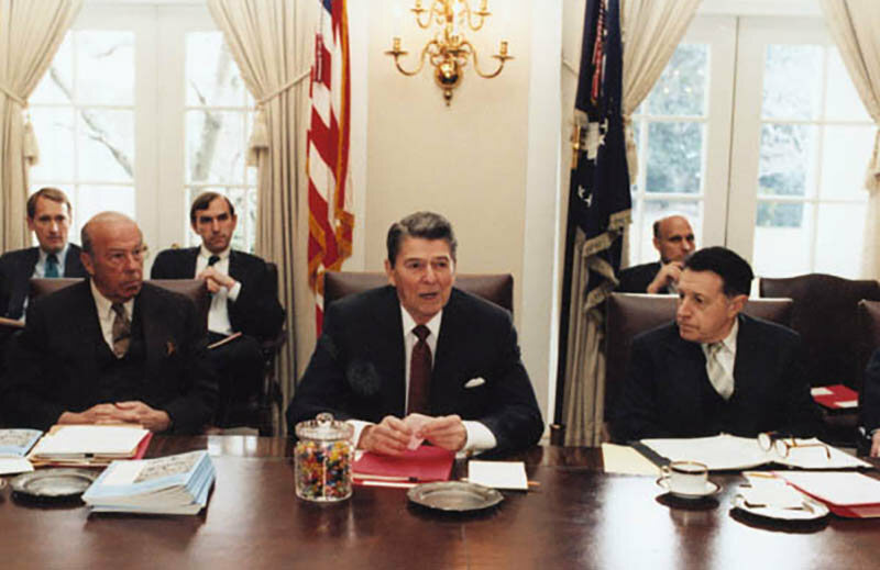 President Ronald Reagan with a jar of Jelly Bellys, 1987.
