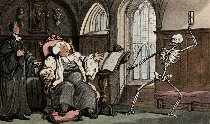 """The Bishop and Death,"" from Thomas Rolandson's <em>The Dance of Death</em>, 1816."