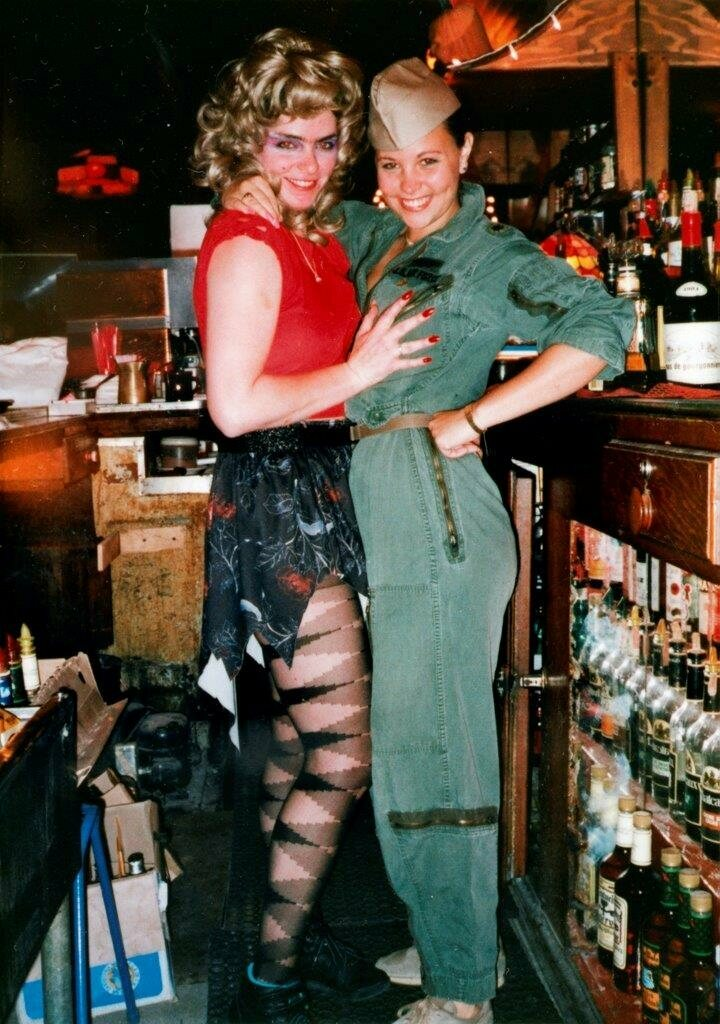 Bartenders Patty (l) and Tudy (r) behind the bar at Maud's, a lesbian bar on Cole Street open from 1966 to 1989. This photo dates from 1987.
