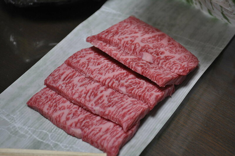 Slices of wagyu rib meat.