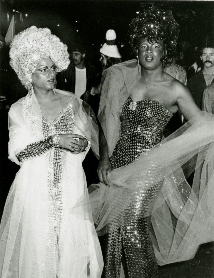 Sylvester the Disco Diva, on the right, pictured with another drag queen in the Castro on Halloween 1976.