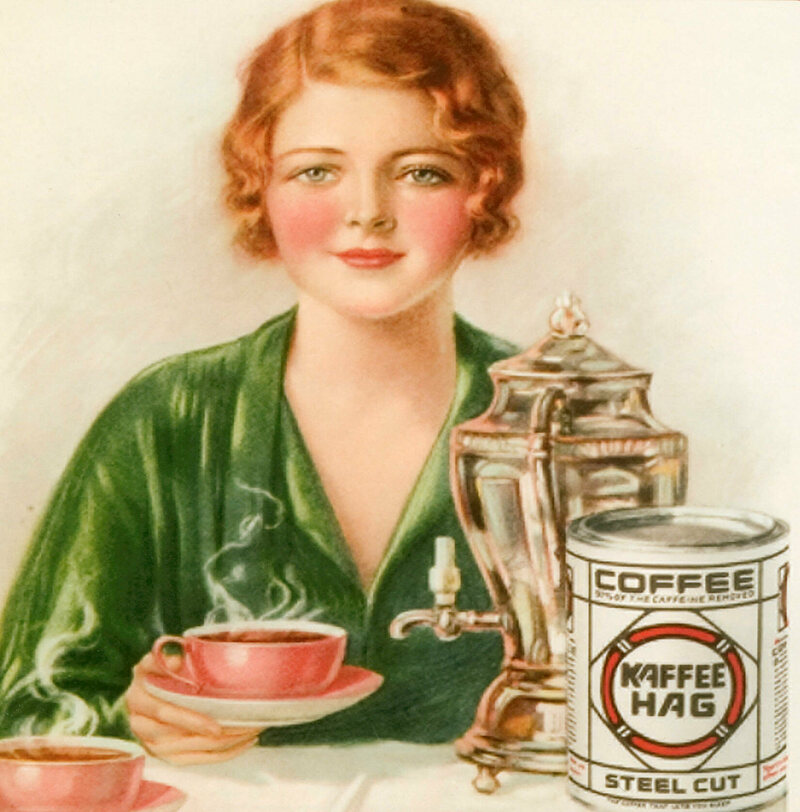 An advertisement for Kaffee Hag, c. 1920s.