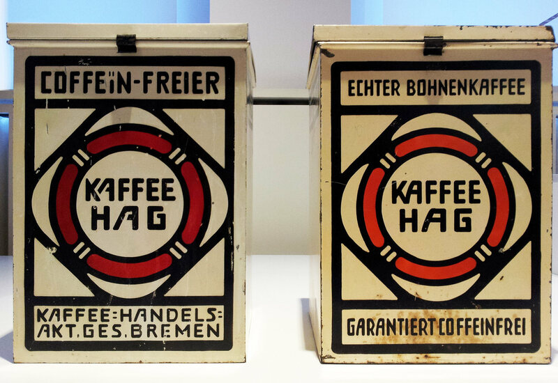 Two antique tins of Kaffee Hag at the Bröhan Museum, Berlin.