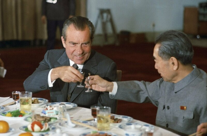 Nixon toasts Chinese premier Zhou Enlai at the all-duck banquet.