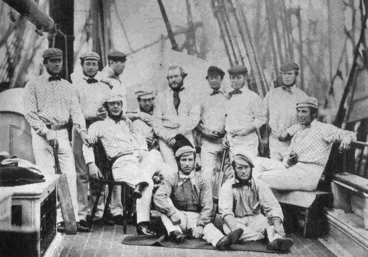 The English cricket team on board their ship to America, 1859.