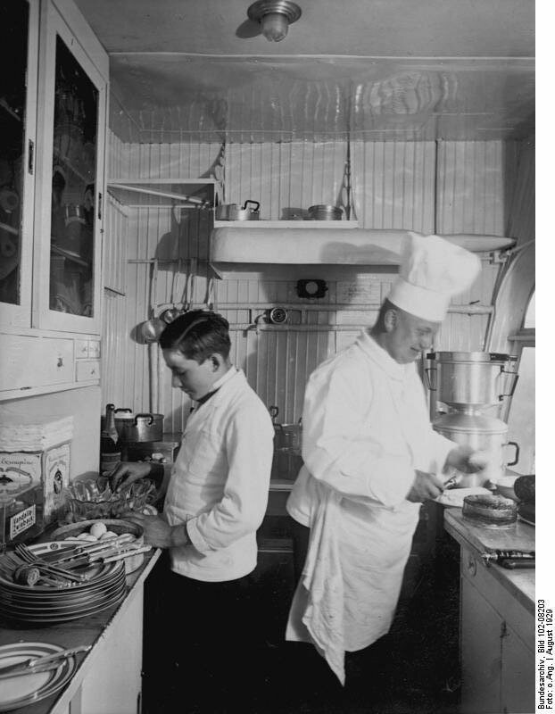 The <em>Graf Zeppelin</em> had the world's first entirely aluminum kitchen, shown here in 1929.