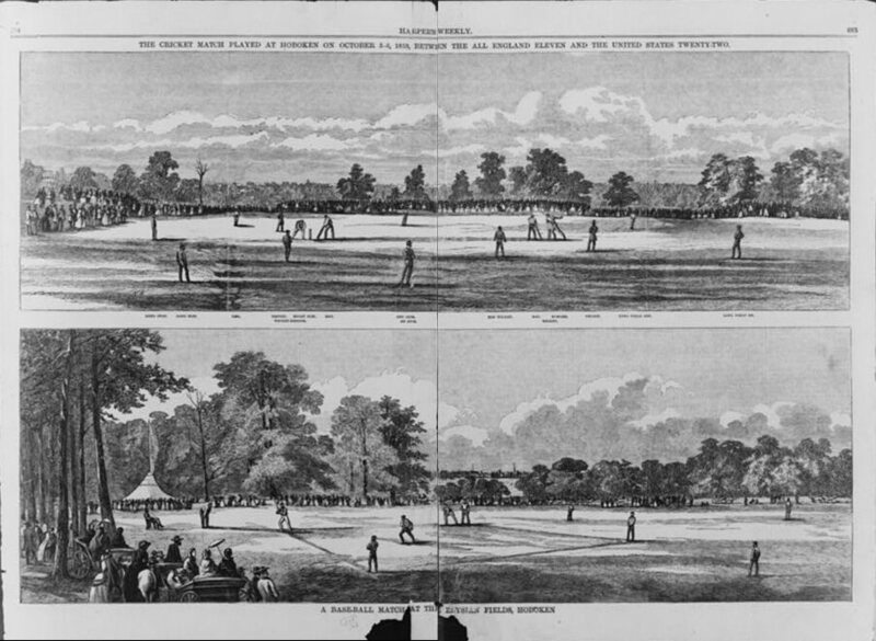 Two sports at Elysian Fields, Hoboken: the cricket match of October 1859 and baseball.