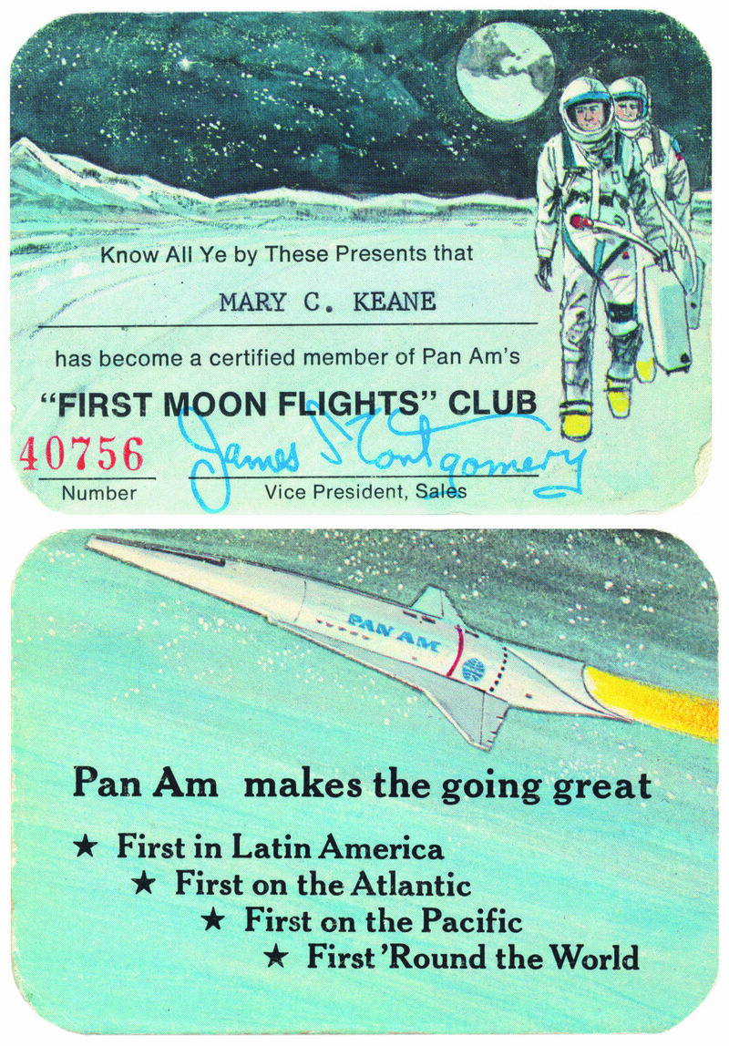 """PanAm's """"First Moon Flights Club"""" card. The Club was created in 1968 for passengers to reserve a seat on a commercial flight to the Moon."""