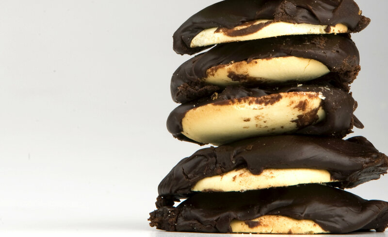 A stack of Berger Cookies.