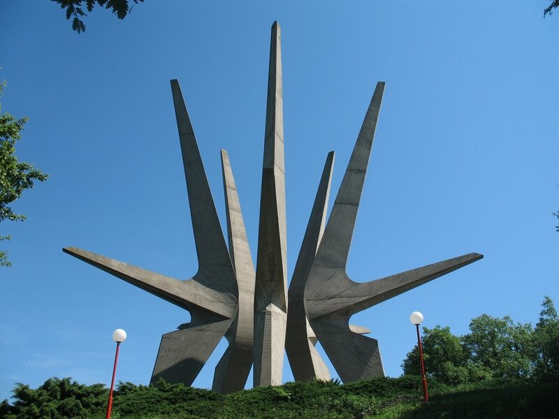 The spaceship-like Kosmaj Monument in Serbia.