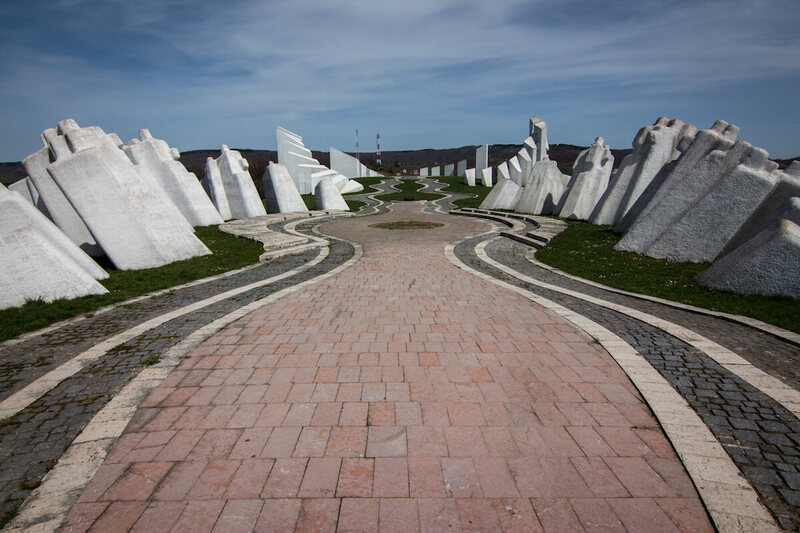Looking down the length of the Kadinjača Memorial Complex in Serbia.