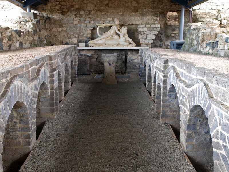 Inside the Mithraeum in Vulci, Italy.