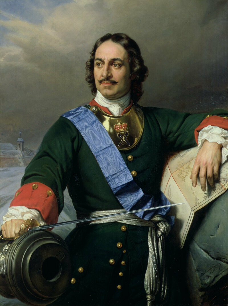 A posthumous portrait of Peter the Great, from 1838, by French painter Paul Delaroche.