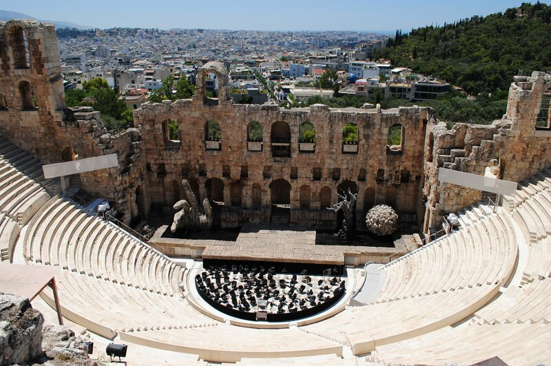 The Odeon of Herodes Atticus at the Acropolis of Athens.