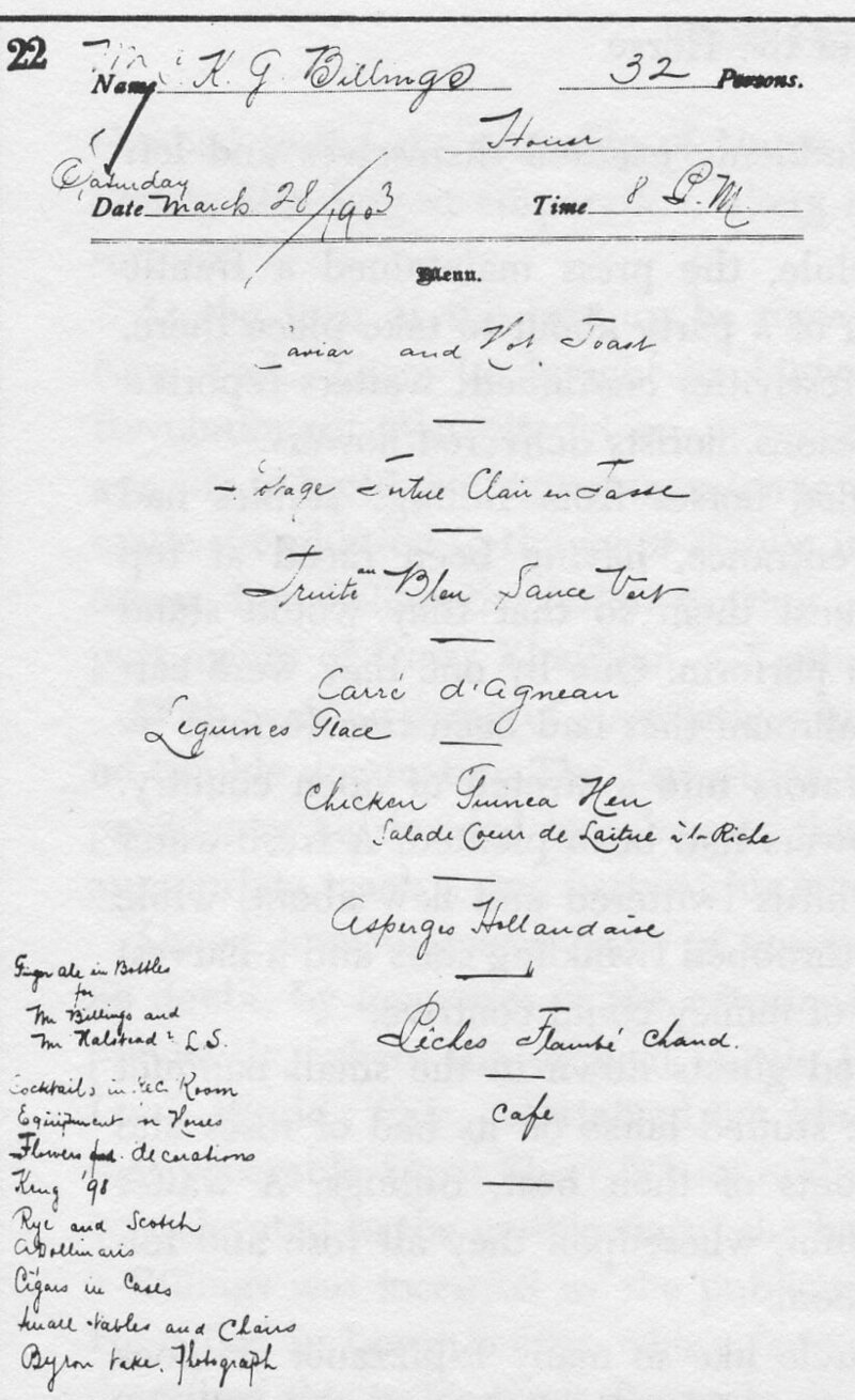 The menu above is from the files of restaurant owner Louis Sherry, whose name lives on as a brand of fancy chocolates.