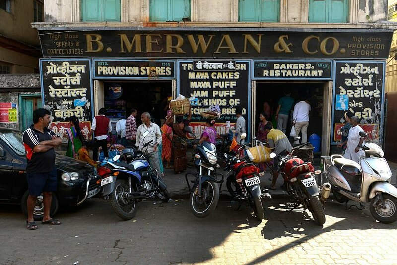 Outside Merwan & Co in Mumbai.