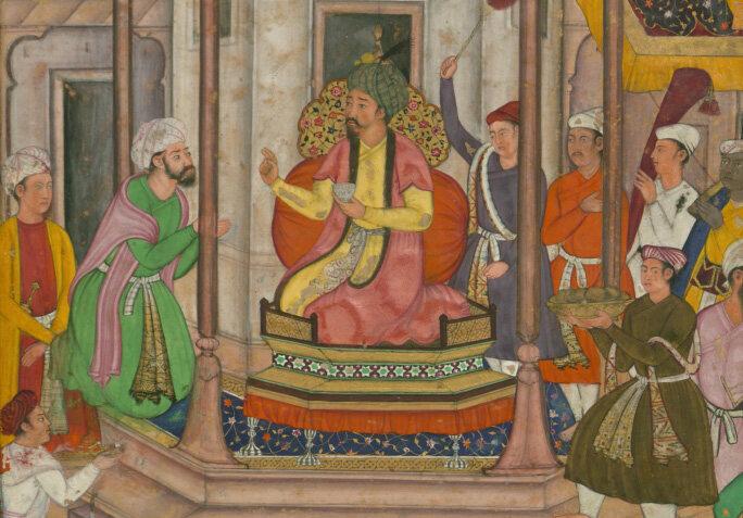 <em>Babur Being Entertained in Ghazni</em>, from the <em>Baburnama</em>, the memoirs of Ẓahīr al-din Muhammad.