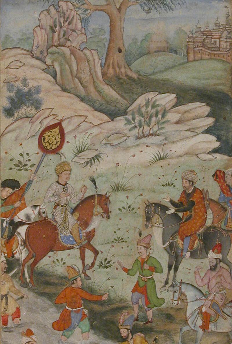 A depiction of Babur meeting Sultan 'Ali Mirza near Samarqand, from the <em>Baburnama</em>.