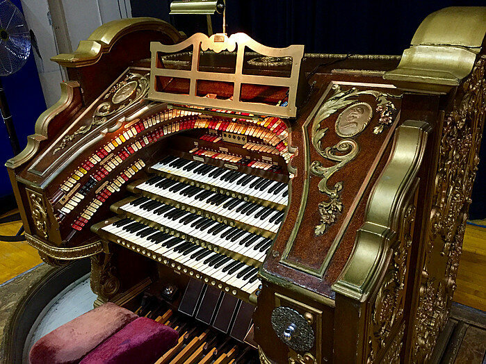 The Wurlitzer 4/26, named for its four keyboards and 26 sets of different sounding pipes.