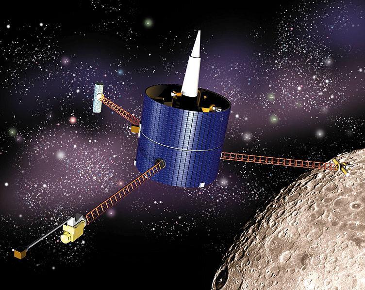An artist's rendition of the Lunar Prospector orbiter.