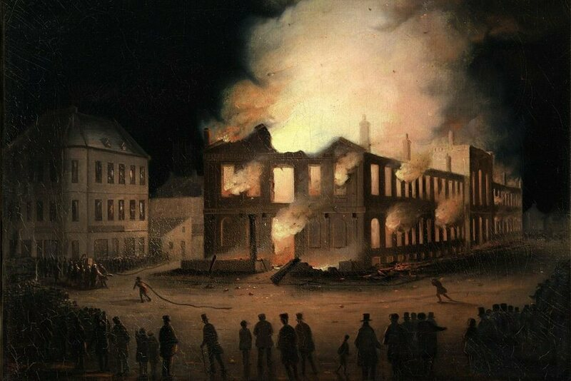 On the night of April 25, 1849, a violent fire destroyed the Province of Canada's first parliament building.