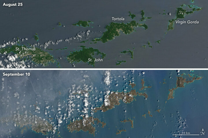 A satellite comparison showing the impact of Hurricane Irma in the Caribbean. The Humanitarian OpenStreetMap (HOT) is working on mapping natural disasters.