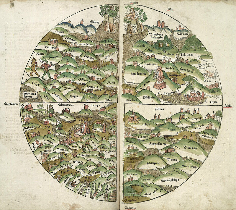 A 1475 woodcut world map, published in <em>Rudimentum novitiorum</em>.