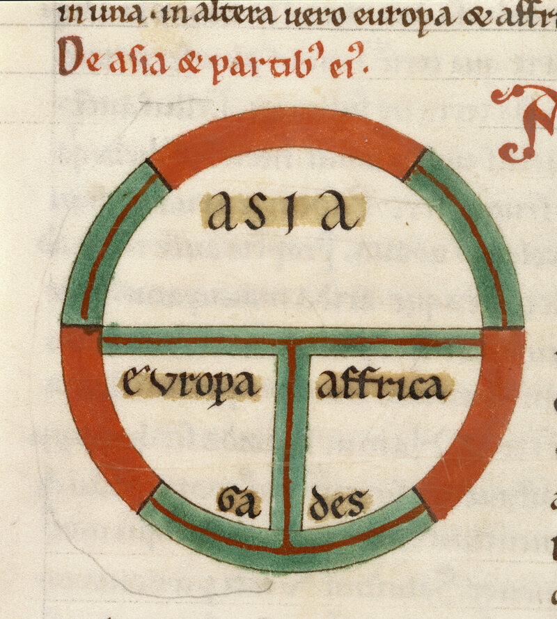 A 13th-century depiction of the world as a circle divided by into three continents, Asia, Europe, and Africa.