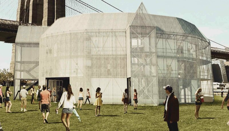 The Container Globe's outside will be covered in metal mesh for a certain amount of weather protection.