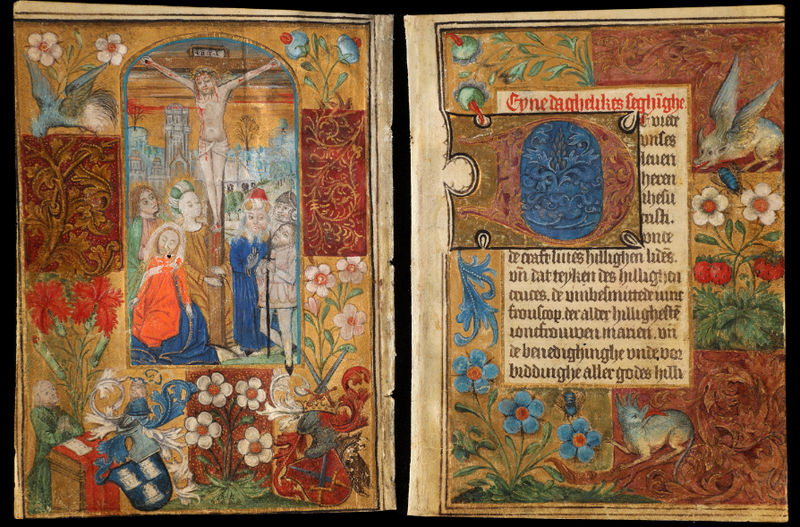 Two pages from the Luneborch Prayer Book, a rare 15th-century illuminated manuscript that was mysteriously returned to the George Peabody Library 40 years after it had gone missing.