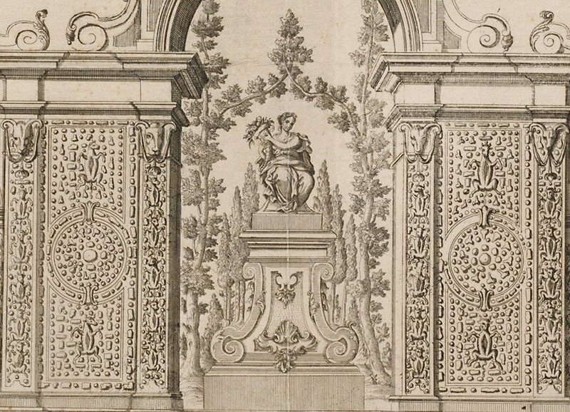 This Cuccagna close-up shows the food pinned to the monument's walls.