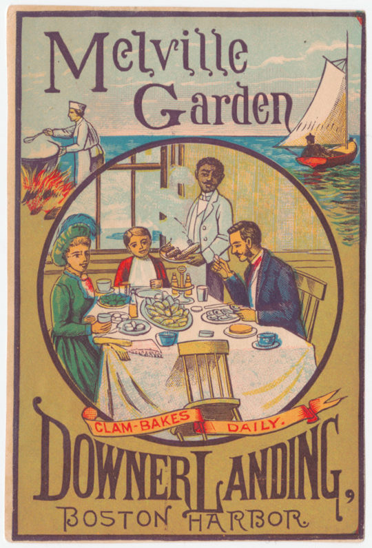 A card promising good times and daily clam bakes at Downer Landing.
