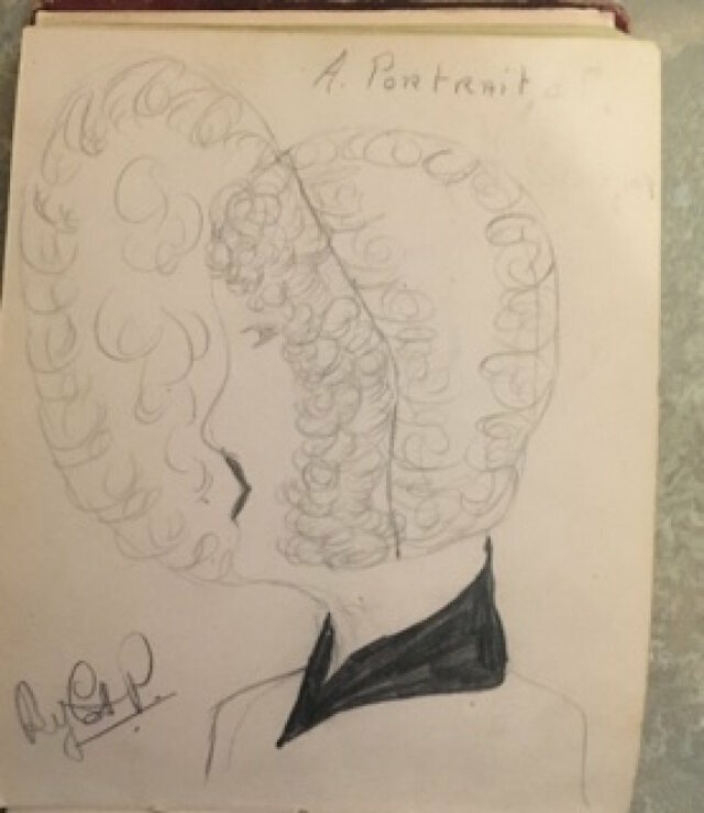 A sketch—perhaps a portrait of Hilda?