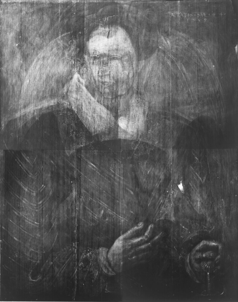 An X-ray of Adrian Vanson's Sir John Maitland, showing the portrait of a woman believed to be Mary, Queen of Scots.