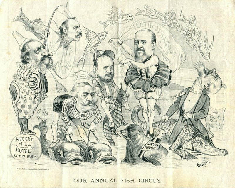 Members of the Ichthyophagous Club are caricatured on a menu at one of their banquets.