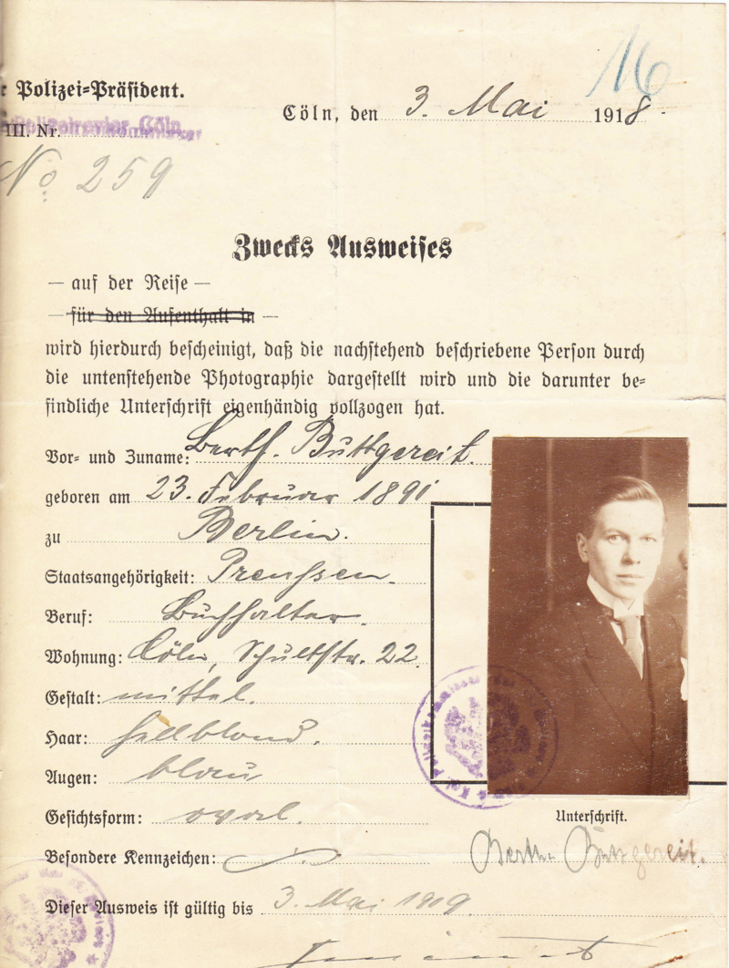 "Berthe, later Berthold, Buttgereit's travel pass makes no mention of tranvestitism. But ""B.B. is not forbidden to wear man's clothes"" was written on the back."