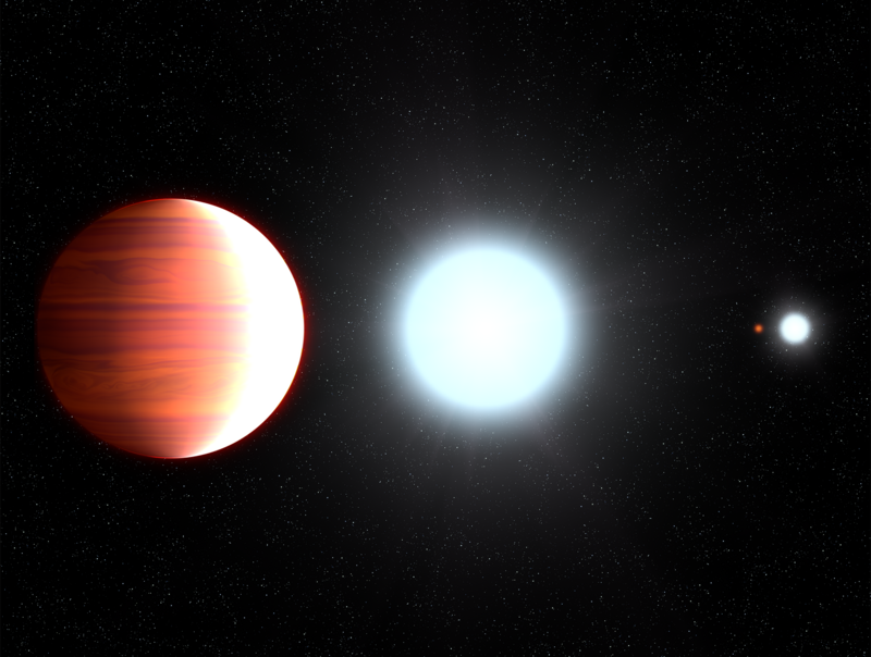 An artist's conception of Kepler-13Ab orbiting its star. (That other blue dot is the other half of the star's binary pair.)