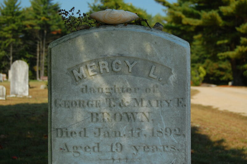 The grave of Mercy Brown, a young woman who died in Rhode Island 1892, probably of tuberculosis. Her body was desecrated when it was thought that she was feeding on the spirit of her ill brother.
