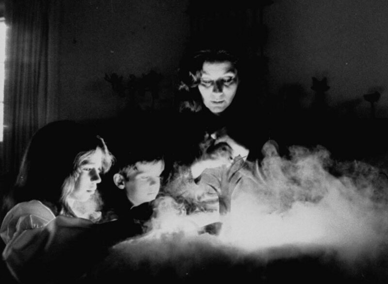 Louise Huebner, Official Witch of Los Angeles County, making turtle soup for her family in the 1970s.