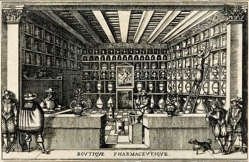 An illustration of a French apothecary in the early 17th century.