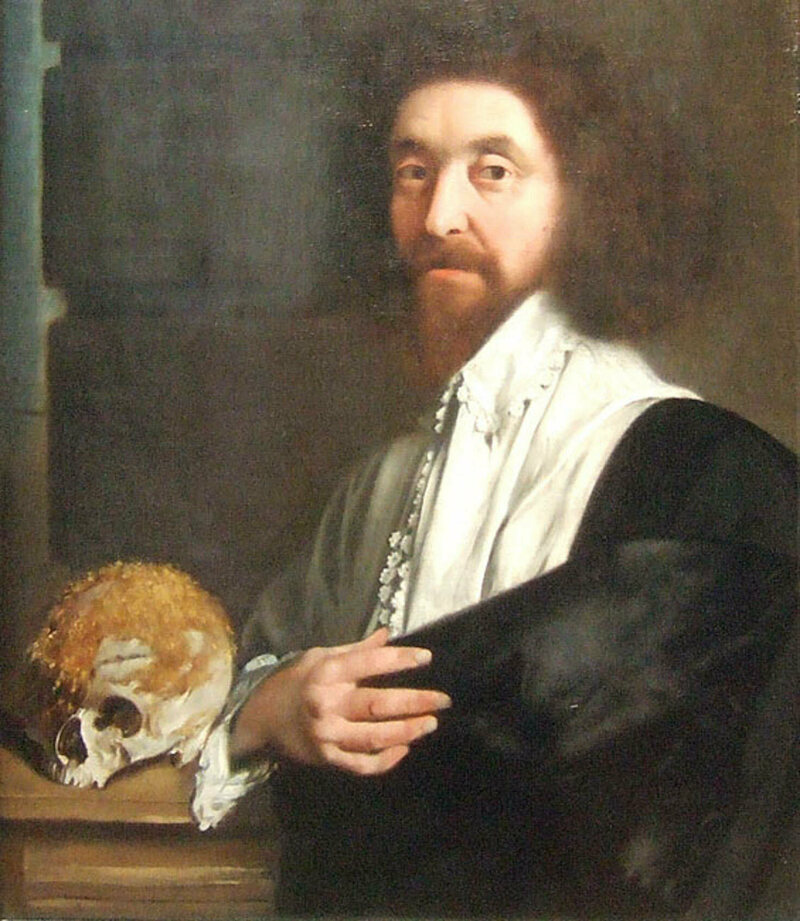 Corpse medicine practitioner John Tradescant the Younger with a moss-covered skull.