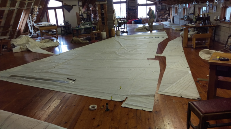 The <em>Apollonia</em>'s sails are cut from existing sails previously used on other boats, with an experienced sailmaker in Erie, Pennsylvania.