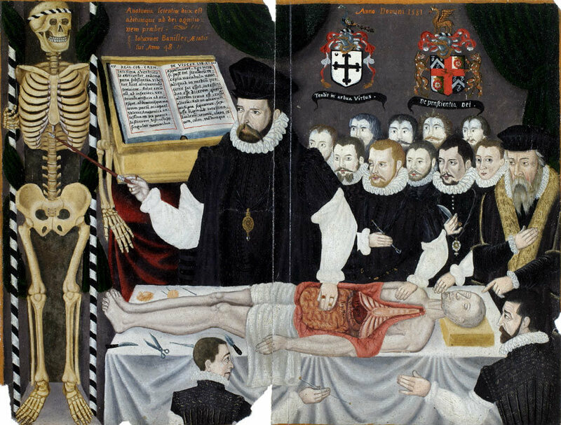 A 16th-century anatomical lecture in London.